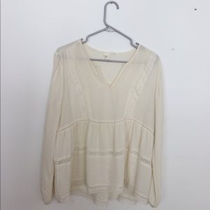 Gap Long Sleeve Peasant Blouse/Top with Lace